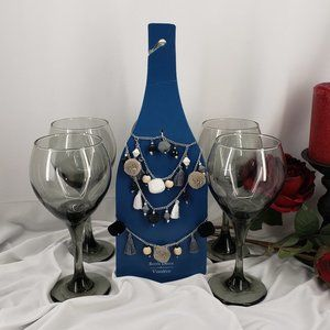 Pier 1 Wine Bottle Decor & 4 Wine Glasses 🍷 NWT